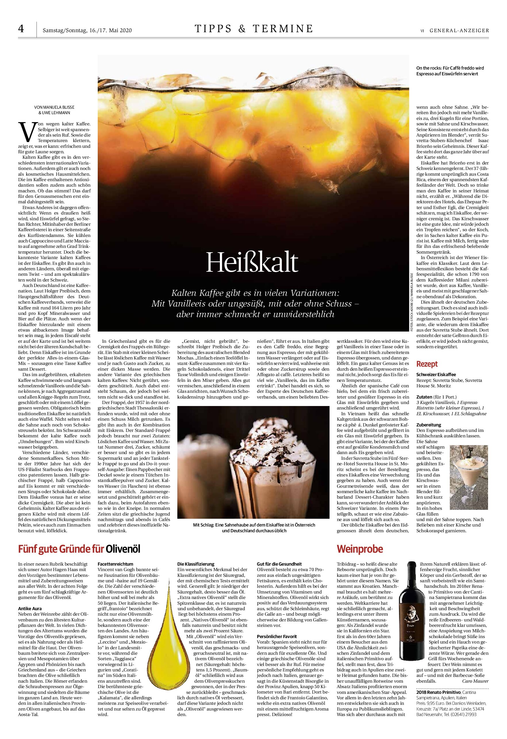 "DICONO DI NOI – Caro Maurer' (Master of Wine) article (General-Anzeiger) about ""Renato"" Wine"